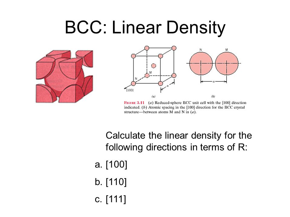 BCC: Linear Density Calculate the linear density for the following directions in terms of R: [100]